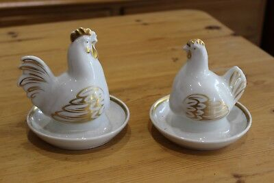 Vintage Royal Worcester Hen And Cockeral Pair Of Egg Cups And Egg Warmers