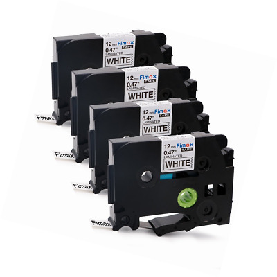Fimax 4 Packs Standard Laminated Label Tapes Compatible For Brother P-Touch TZe-