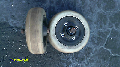 "Invacare Solid 6"" Castor Tires Pair Left Right 7/16"" Bearing wheelchair scooter"