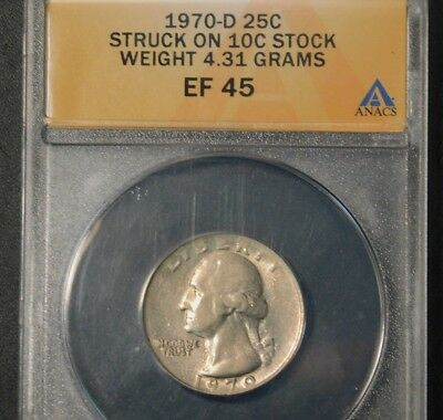 "1970 D Washington Quarter Struck on a ""DIME STOCK"" 4.3 g >>RARE<< US  Error Coin"
