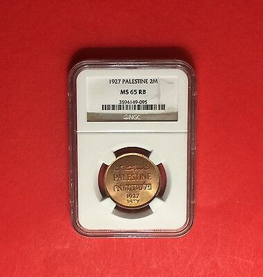 PALESTINE -1927 UNCIRCULATED 2 MILS ,CERTIFIED BY NGC MS65 RB ...rare grading.