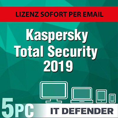 Kaspersky Total Security 2019 5 PC / Geräte / 1 Jahr / Download / auch f. 2020
