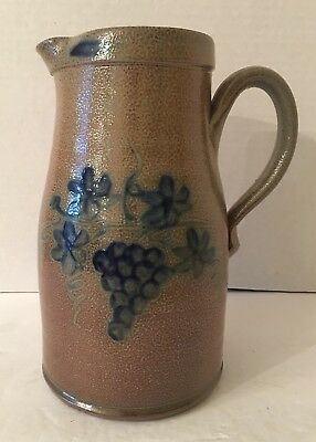 Rowe Pottery Large Historical Collection Pitcher 2007 Salt Glazed Grape Pattern