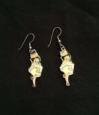 Vintage Pre-Owned Betty Boop Dangle Earrings Poker Playing 2 Inch Silver Toned