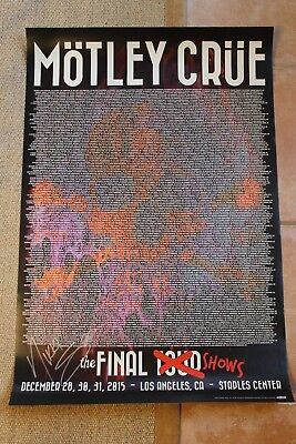 Nikki Sixx Signed Motley Crue The Final Tour Shows Concerts Poster Autographed