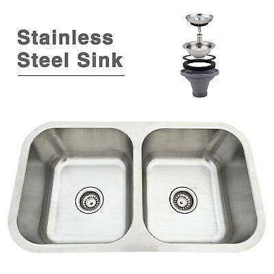 "31"" Stainless Steel Sink Undermount Double Bowl Kitchen Sink with Strainer"