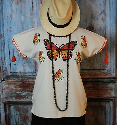 M/L Mexican Blouse Monarch Butterfly Hand Embroidered Michoacan Huanengo
