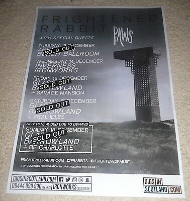 Frightened Rabbit + Paws CONCERT POSTER dec 2016 live music show gig tour poster