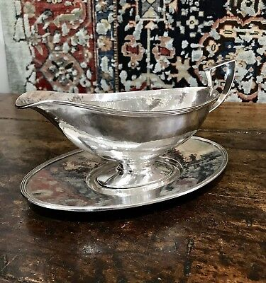 Lebolt & Co. Hand Made Sterling Gravy Boat and Tray