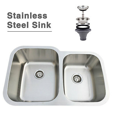 "32"" Stainless Steel 60/40 Double Bowl Under Mount Kitchen Sink with Strainer"