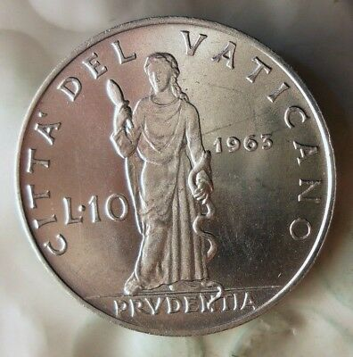 1963 VATICAN CITY 10 LIRE - AU/UNC - Very Low Mintage - Lot #522