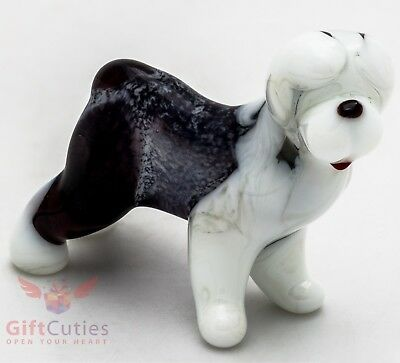 Art Blown Glass Figurine of the Old English Sheepdog dog