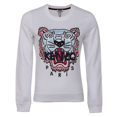 bc4eecdb607 KENZO Women s White Embroidered Icon Tiger Sweatshirt Jumper Signature  Medium