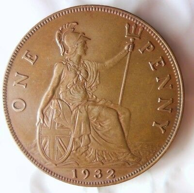 1932 GREAT BRITAIN PENNY - AU - KEY Low Mintage Date Coin - Lot #522