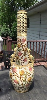 "Large 33"" Vintage Zsolnay Pecs Vase Peacock Phoenix Gold Trim Hand Painted"
