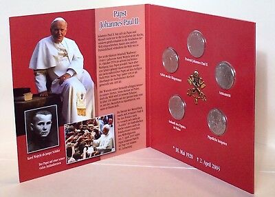 2005 Knights Of Malta 1 Lira Pope John Paul II CuNi 5-Coin Set