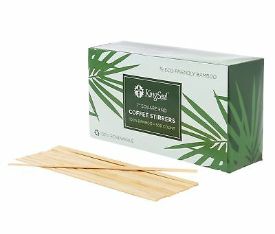 KingSeal Bamboo Wood Coffee Beverage Stirrers, Square End - 7 Inches, 2 boxes...