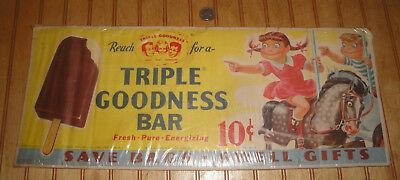 "1949 FOREMOST DAIRY ""Triple Goodness Bar"" 8X20 Ice Cream Paper Sign Banner as is"
