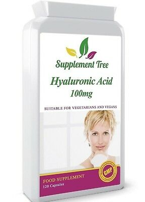 HYALURONIC ACID 100mg 120 Capsules (4 Months Supply) UK Manufactured Not Tablets