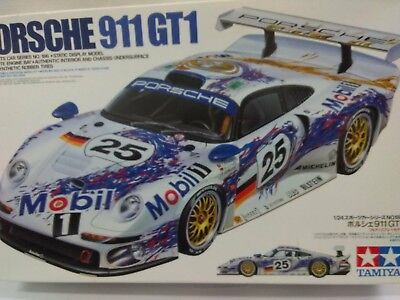 Tamiya 1:24 Porsche 911 GT1 24186 Mobil 1 #25 opened box Sealed Inside!