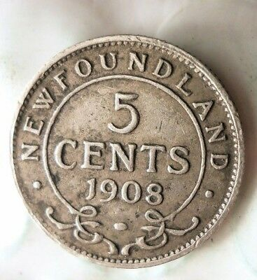 1908 NEWFOUNDLAND 5 CENTS - High Grade - Huge Value Coin - AWESOME - Lot #522