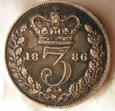1886 GREAT BRITAIN 3 PENCE - AU - HIGH GRADE Silver Coin - LOT #522