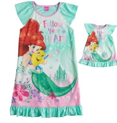 Girls 6 Ariel & Flounder Nightgown & Doll Gown Fit American Girl Dollie & Me NWT