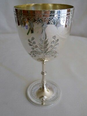 Antique sterling silver wine goblet  kiddush cup London England 1875 hand chased