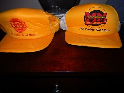 2 MINNEAPOLIS MOLINE  tractor YELLOW  SUMMER ADULT BALL CAPs HATs NEW