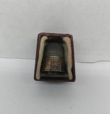 Antique Vintage Victorian Ornate Sewing Thimble In Original Box