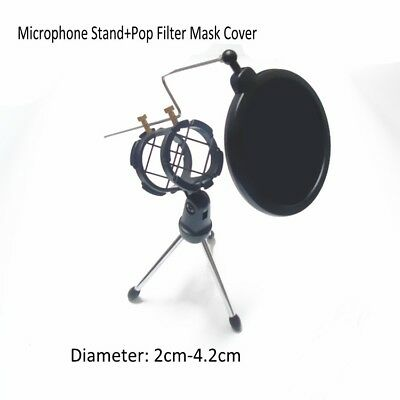 Adjustable Tripod Desktop Microphone Stand Holder with Pop Filter Mask Cover