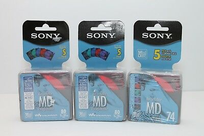 NEW SEALED Lot of 3 SONY Recordable MD 80 Min 74 Min Color Mini Disc 5 Packs