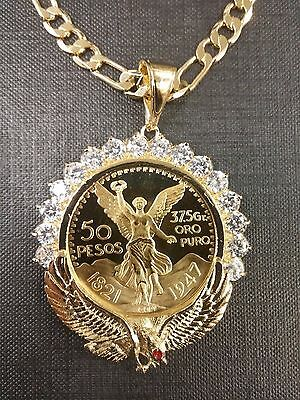 Centenario Coin  Gold Plated with eagle bezel with stones and  figaro Chain