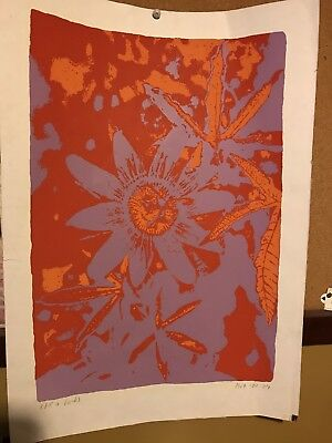 1969 SERIGRAPH  Russian Style Of Andy Warhol Flowers Signed  Illegible Sig