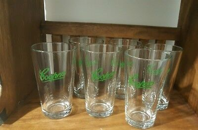 "Coopers Beer ""GREEN""Glasses Hotel Grade 6 pack 285 ml (pot) Aussie Pub Glassware"