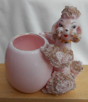 Vintage Lefton Spaghetti Poodle Japan Pink Cigarette Holder Tooth Pick Planter