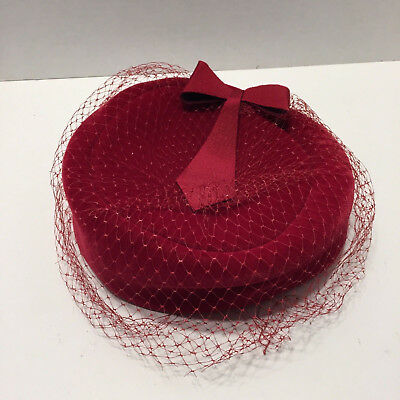 Vintage Womens Red Velour Velvet Veiled Pillbox Hat USA Union Made