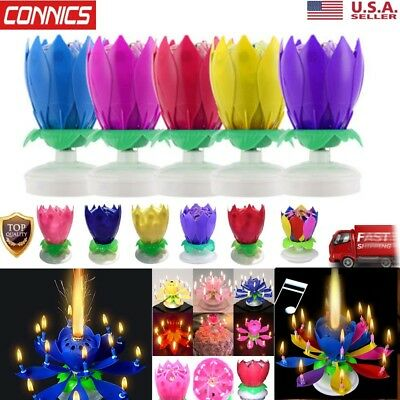 Amazing Lotus Flower Musical Rotating Birthday Candle 5 DIFFERENT COLORSSTYLES
