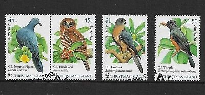 CHRISTMAS ISLAND 2002 Birds, WWF, set of 4, used, first day cancel