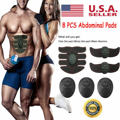 Electric Arm Muscle Toner EMS Machine Wireless Toning Belt 8-Pads ABS Fat Burner