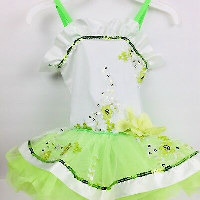 Curtain Call Dance Ballet Dress Up Costume Tutu Size CXS Lime Green White