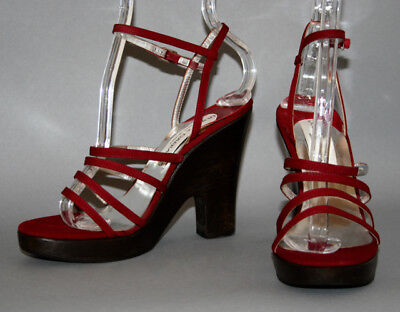 Vntg DOLCE & GABBANA -ITALY Strappy Burgundy Canvas Ankle Strap w/Wood Wedges 35