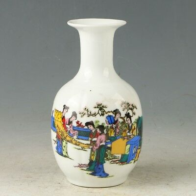 Chinese Porcelain Hand-painted Beauty  Vase W Daqing Qianlong Mark MY0865