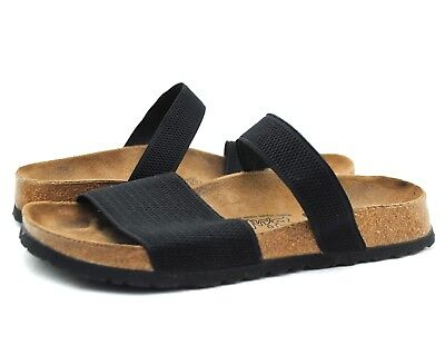 abe96c822926 BIRKI S by BIRKENSTOCK Black Elastic Stretch Summer Slide Sandals Sz 37   W  6