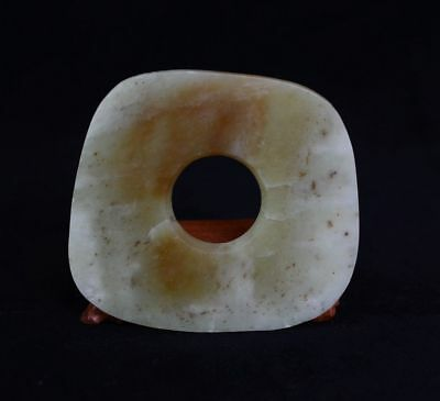 Chinese QiJia Culture Style Sacrificial Ceremony Accessory Jade Plain Bi-JR12517