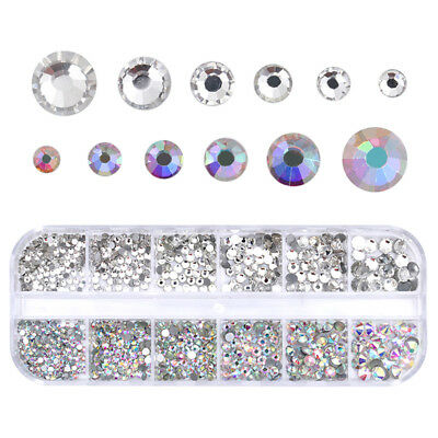 Clear AB Color Multi-size Nail Art Rhinestone Flat Bottom 3D Decor Tool DIY