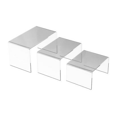 "Set of 3 Pack Large Clear Acrylic Risers Jewelry Display Stands 5"", 6"", 7 """