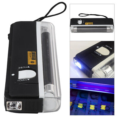 Portable UV Bank Note Checker with Torch ultraviolet tube light battery power