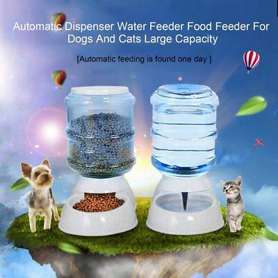 Large Automatic Pet Food Drink Dispenser Dog Cat Feeder Water Bowl Dish