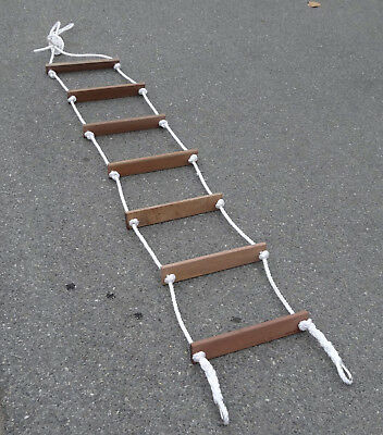 Outdoor Wooden Rung Rope Ladder - 5 Rung  (1.75Mtr) Rope/Climbing/Saftey/Cubby